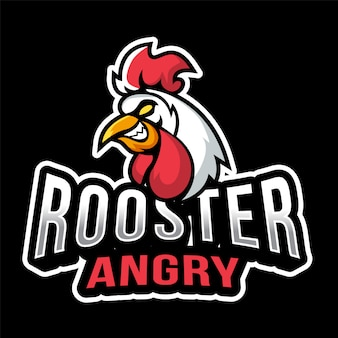 Modèle de logo rooster angry esport