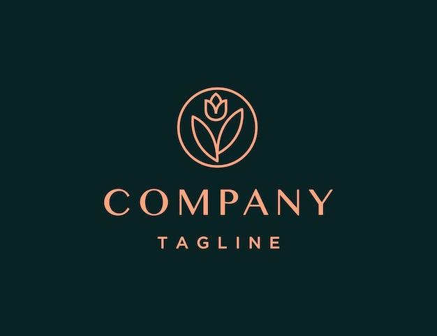 Modèle de logo rose de luxe et minimal