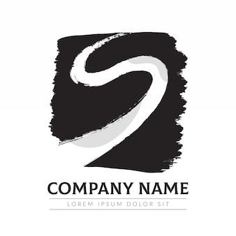 Modèle de logo s peint à la main