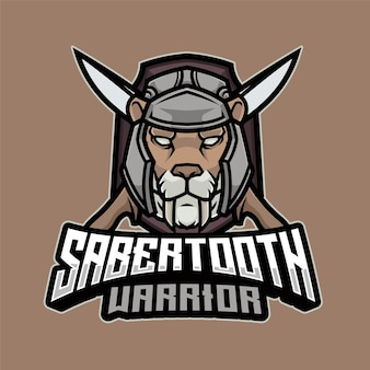 Modèle de logo sabertooth warrior