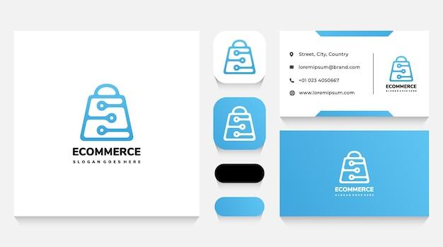 Modèle de logo de sac à provisions intelligent et technologique et carte de visite