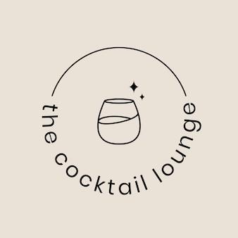 Modèle de logo de salon de cocktail avec un verre à cocktail minimal