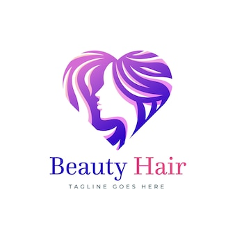 Modèle de logo de salon de coiffure dégradé en forme de coeur