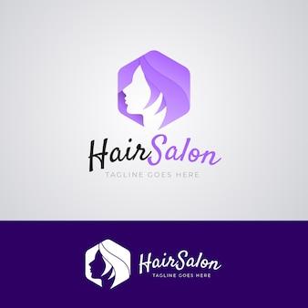 Modèle de logo de salon de coiffure dégradé