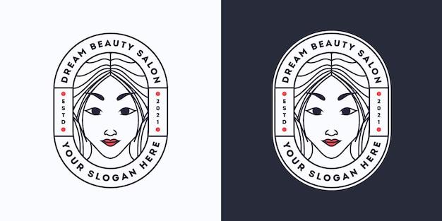 Modèle de logo de salon de coiffure femme rêve beauté