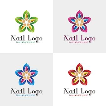 Modèle De Logo De Salon De L'ongle. Vecteur Premium