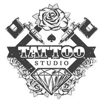 Modèle de logo de salon de tatouage vintage