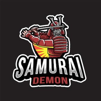 Modèle de logo samurai demon