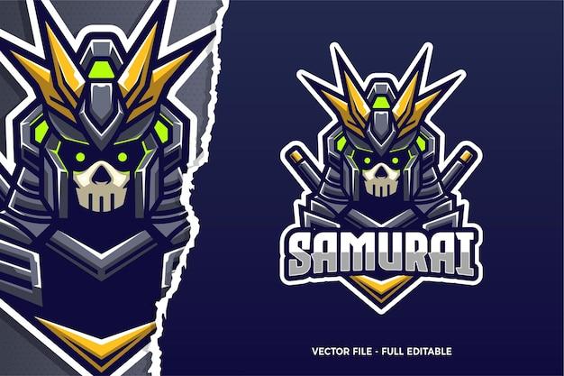 Modèle de logo samurai e-sport