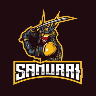 Modèle de logo samurai esport