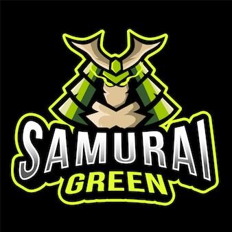 Modèle de logo samurai green esport
