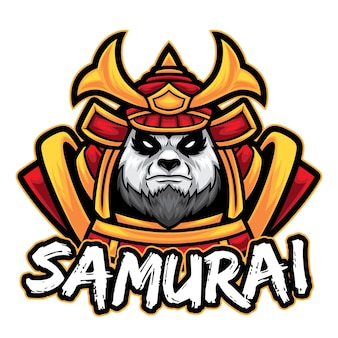 Modèle de logo samurai panda esport