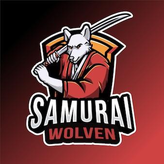 Modèle de logo samurai wolven