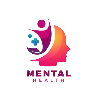 Modèle de logo de santé mentale dégradé