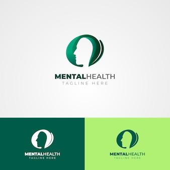 Modèle de logo de santé mentale sur différentes couleurs