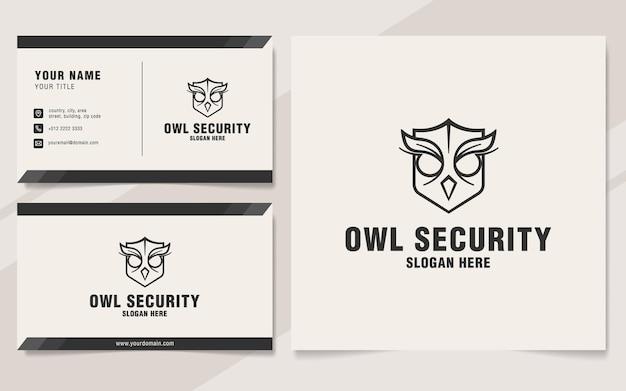 Modèle de logo de sécurité chouette sur le style monogramme