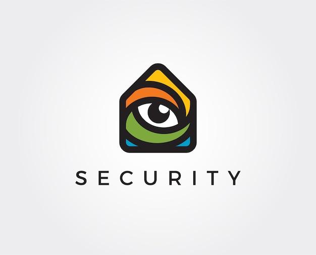 Modèle de logo de sécurité à domicile minimal