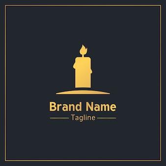 Modèle de logo sérieux bougie allumée doré