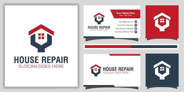 Modèle De Logo De Service De Réparation à Domicile Simple Et Moderne Avec Conception De Carte De Visite Vecteur Premium
