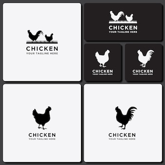 Modèle logo set collection de conception de poulet de bétail