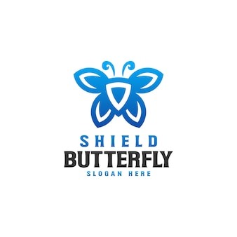 Modèle de logo shield butterfly