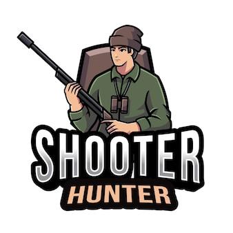 Modèle de logo shooter hunter
