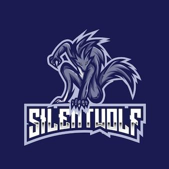 Modèle de logo silent wolf esport