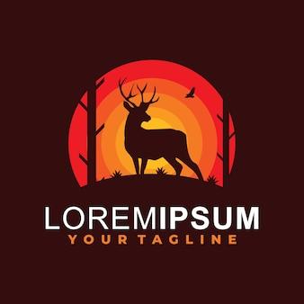 Modèle de logo de silhouette de cerf