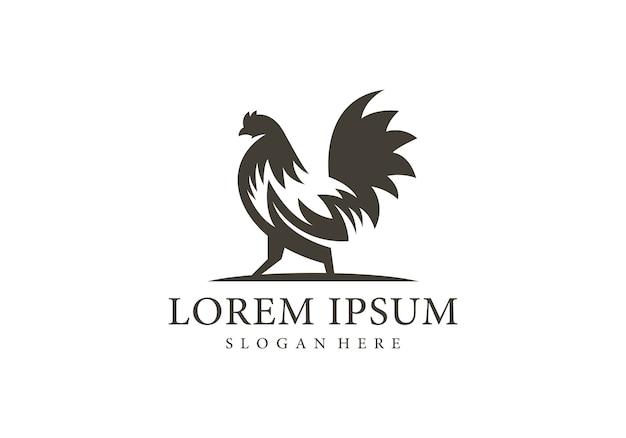 Modèle de logo de silhouette de coq