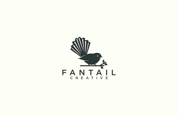 Modèle de logo silhouette fantail
