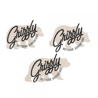 Modèle logo silhouette de grizzli isolé avec style de mise en page vintage