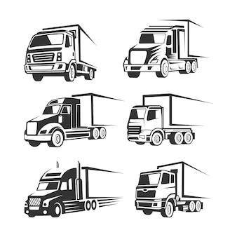 Modèle de logo silhouette logistique camion