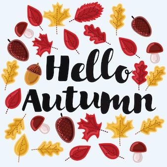 Modèle de logo, silhouette de timbre bonjour, automne. texture orange aquarelle. .