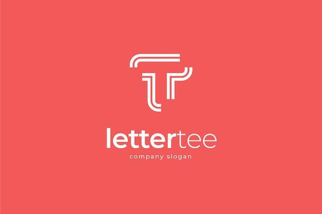Modèle de logo simple lettre abstraite moderne t