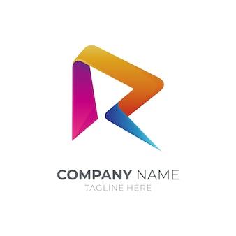 Modèle de logo simple lettre initiale r