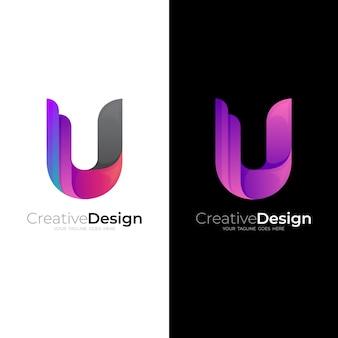 Modèle de logo simple lettre u, icônes colorées