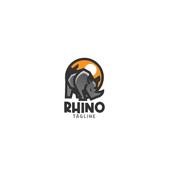 Modèle de logo simple rhinocéros
