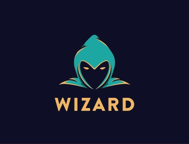 Modèle de logo simple tête de magicien sur fond noir