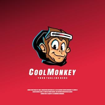 Modèle de logo de singe cool