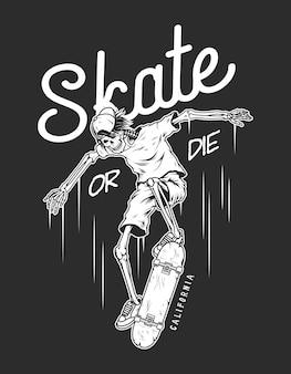 Modèle de logo de skateboard vintage