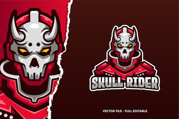 Modèle de logo skull rider e-sport