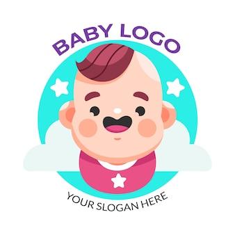 Modèle de logo smiley bébé et étoiles