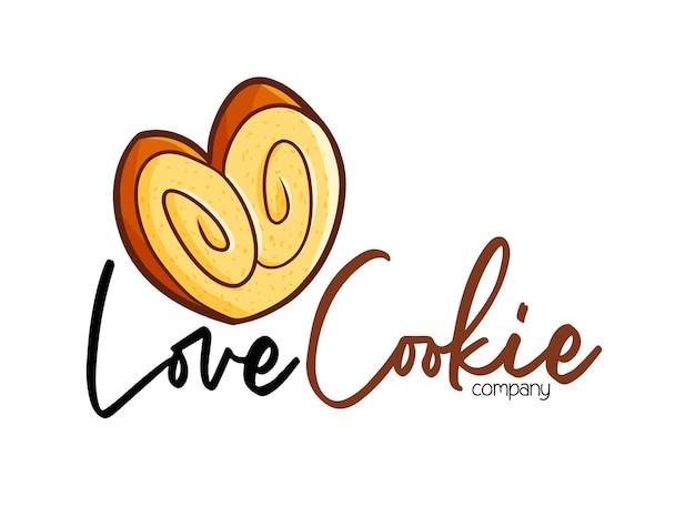 Modèle De Logo De Société Funny Love Cookie Vecteur Premium