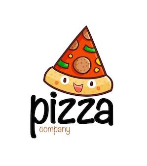 Modèle de logo de société de pizza drôle