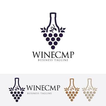 Modèle de logo de société de vin