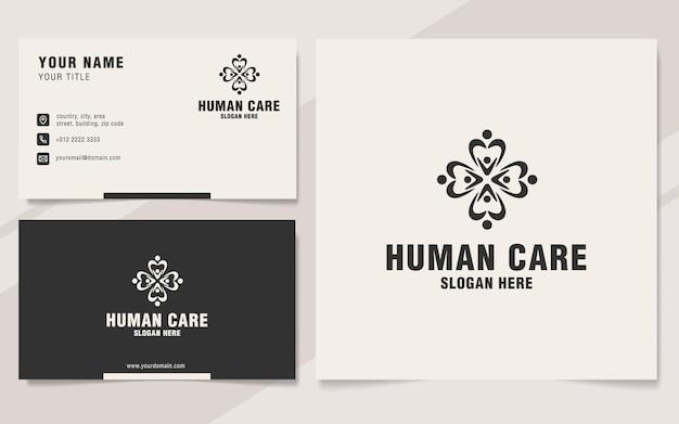 Modèle de logo de soins humains sur le style monogramme