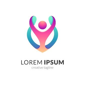 Modèle de logo de soins de personnes