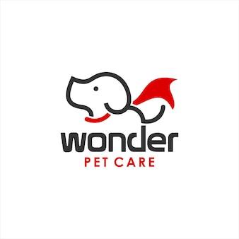 Modèle de logo de soins pour animaux de compagnie de chien de dessin animé
