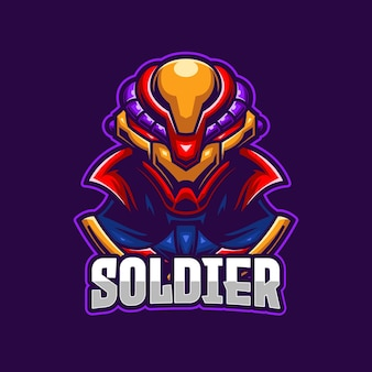 Modèle de logo de soldat e-sports