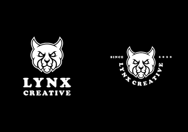 Modèle de logo sombre créatif lynx cat